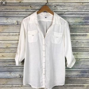 Cabi White Linen Button Up Shirt. #982 Size M